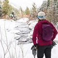 The trail offers plenty of great river views.- North Fork Snowshoe