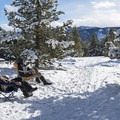 A couple enjoying their weekend staying at the Senate View Yurt. - Galena Lodge Snowshoe