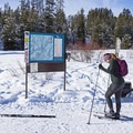 Checking out the trail map.- Galena Lodge Nordic Center