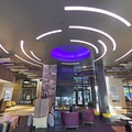 An interesting ceiling design keeps the lobby feeling contemporary.- The Limelight Hotel-Ketchum