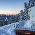 The Baldy Knoll Yurt at sunrise.- Backcountry Skiing the Baldy Knoll Yurt