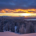 A fiery sunset as viewed from the yurt looking over the Big Hole mountains.- Backcountry Skiing the Baldy Knoll Yurt