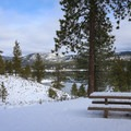 Views over Boca Reservoir and the surrounding Sierra from the quiet tables inside Boca Campground.- Boca Reservoir Road