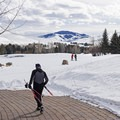 There is easy access from the lot directly to the tracks. - Sun Valley Nordic Center