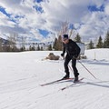 Heading to the blue and black runs of the Trail Creek Loop's northern section. - Sun Valley Nordic Center