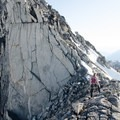 Approaching the fourth class sections after the first short ridge section. - Bugaboo Spire via Kain Route
