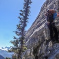 The first technical section.- Mount Lady MacDonald: East Southeast Ridge