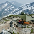 Bivy site at Motel 66. There are no washrooms here, so be sure to bring Wag Bags.- Mount Matier: North Face