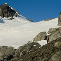 Gazing up at the route.- Mount Matier: North Face