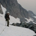 Heading up to the main section of the Anniversary Glacier.- Mount Matier: North Face