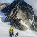 Moving up the lower flanks of Mount Matier.- Mount Matier: North Face