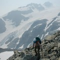 Back on the talus.- Mount Matier: North Face