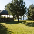 Picnic pavilion near the ferry dock.- Hammocks Beach State Park