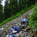 The hut is close to this talus field. Taking a rest for the final steep section. - Vantage Peak