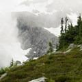 Misty conditions on the northeastern ridge of Joffre Peak just above the hut.- Vantage Peak
