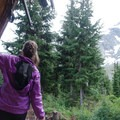 Looking out from the hut toward Mount Matier.- Vantage Peak
