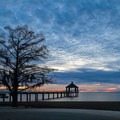 Sunset at the edge of Lake Pontchatrain.- Fontainebleau State Park