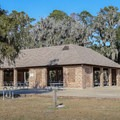 A picnic structure in the park's large main lawn.- Fontainebleau State Park