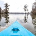 Kayaks allow for the most unrestricted exploration of the swamp ecosystem in Lake Martin.- Lake Martin Paddling