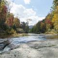 The Elk River before it drops into the gorge.- Elk River Falls