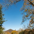 View of Mount Pisgah's summit from the campground.- Mount Pisgah Campground