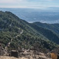 Looking back toward Sierra Madre and the Los Angeles area.- Mount Wilson via Mount Wilson Trail