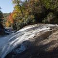 Turtleback Falls and autumn foliage.- Rainbow Falls + Turtleback Falls