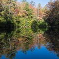 Morning reflections on the pond.- Raymond Fisher Campsites