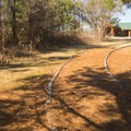 A footpath connects the campground to covered pavilions.- Poverty Point Reservoir State Park