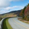 The viaduct seen from a nearby curve in the road.- Linn Cove Viaduct