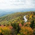 The Blue Ridge Mountains in fall splendor.- Linn Cove Viaduct