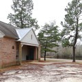 Camp Area 1's heated bathroom building.- Sam Houston Jones State Park Campground