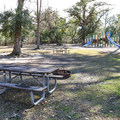 A playground sits in the center of the campground.- Fontainebleau State Park Campground