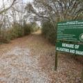 The trailhead at White Lake Wetlands Birding and Nature Trail.- White Lake Wetlands Conservation Area Birding + Nature Trail