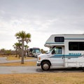Typical RV sites in Grand Isle State Park Campground are efficiently distributed.- Grand Isle State Park Campground