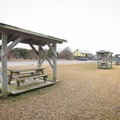 Covered picnic areas are available.- Grand Isle State Park Campground