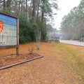 Sam Houston Jones State Park's unique sign at the entrance to the park.- Sam Houston Jones State Park