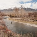 Sean Sullivan before the rugged Wasatch on the Big Lost River.- Winter Fly Fishing with Silver Creek Outfitters