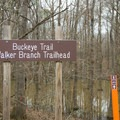 The trailhead right near the bridge that crosses over the lake. - Chicot State Park Hiking Trail