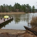 Boat ramp and dock on Upper Caney Lake.- Caney Lakes Paddling