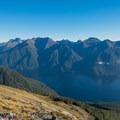 Morning light on the far peaks.- New Zealand Great Walks: Kepler Track