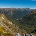 Panorama of the final ridge descent.- New Zealand Great Walks: Kepler Track