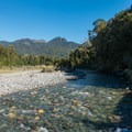 The trail follows Iris Burn toward the lake.- New Zealand Great Walks: Kepler Track