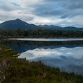 Wetlands viewing area with Mount Luxmore in the background.- New Zealand Great Walks: Kepler Track