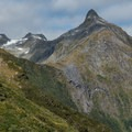 """The gray cliff in the center is """"12-second Drop.""""- New Zealand Great Walks: Milford Track"""