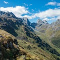 Dramatic peaks behind Lake Mackenzie.- New Zealand Great Walks: Routeburn Track