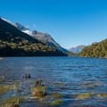 Lake Howden and hut.- New Zealand Great Walks: Routeburn Track