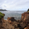 Fragile sandstone erodes away easily in high seas.- Fishing Rock State Recreation Site