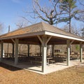 This covered picnic area is great for groups getting together for a picnic. - Chicot State Park Campground + Cabins