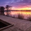Gorgeous sunset over Lake Bruin State Park.- Lake Bruin State Park